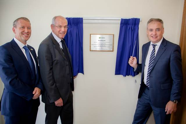 From left to right: Ken McMeikan, Group Chief Executive at Brakes, Gavin Whitefield CBE, Chief Executive of North Lanarkshire Council and Richard Lochhead MSP, Cabinet Secretary for Rural Affairs, Food and the Environment unveil the plaque at Brakes Newhouse depot.